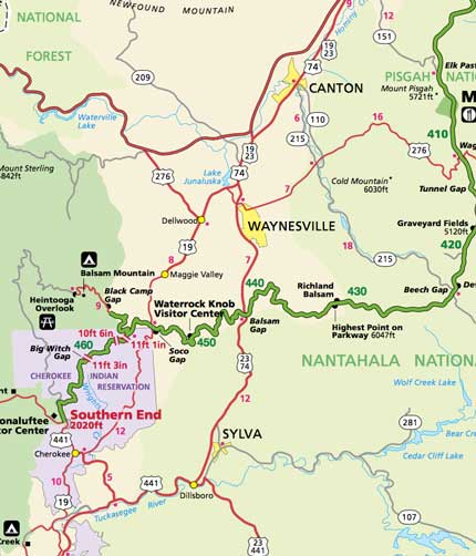 Maggie Valley Nc Map Blue Ridge Parkway